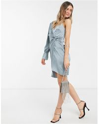 Little Mistress One Shoulder Twist Detail Satin Dress - Gray