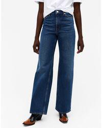 Monki Yoko - Jeans Met Wijde Pijpen Van Organisch Katoen - Blauw