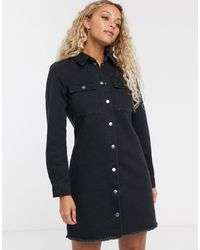 ONLY Denim Shirt Dress Washed Black