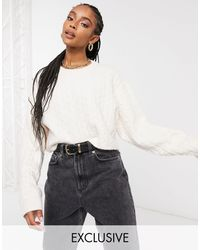 Reclaimed (vintage) - Inspired Boxy Cable Sweater - Lyst