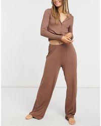 ASOS Ribbed Shirt & Wide Leg Trouser Pyjama Set - Brown