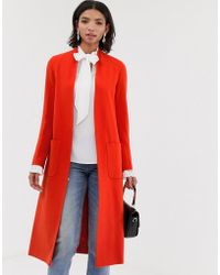 Helene Berman Wool Blend Duster Coat - Orange