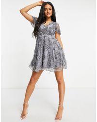 A Star Is Born Embellished V Neck Skater Dress - Grey