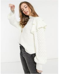 ASOS Textured Sweater With Ruffle Detail - Natural