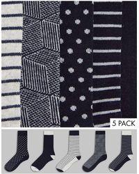 Jack & Jones - Набор Из 5 Пар Носков В Горошек И В Полоску Черного И Серого Цветов -черный Цвет - Lyst