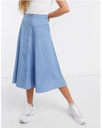 SELECTED Femme - Chambray Midi-skaterrok - Blauw