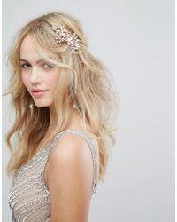 LoveRocks London - Rose Gold Pearl & Leaf Cluster Hair Comb - Lyst