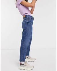 Monki Taiki Organic Cotton High Waist Mom Jeans - Blue