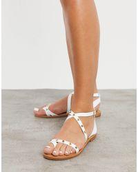 ALDO Strudded Flat Sandals - White