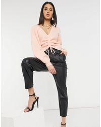 Mango Ruched Front V Neck Jumper - Pink