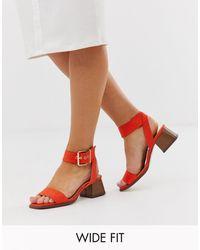 Raid Wide Fit Bessie Orange Square Toe Stacked Heel Sandals