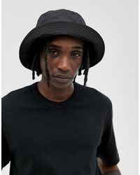 ASOS Black Nylon Wide Brim Bucket Hat
