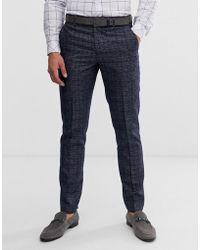 Original Penguin Orginal Slim Fit Dark Navy Check Suit Pant - Blue