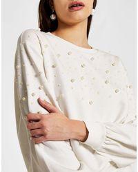 River Island Pearl Co-ord Sweatshirt - White