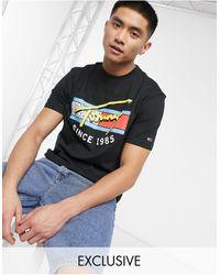 Tommy Hilfiger Exclusief Bij Asos - T-shirt Met Neon Print - Zwart