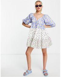 ASOS Ярусное Платье Мини Фасона «бэбидолл» С Комбинированным Принтом - Синий