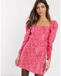 & Other Stories - Розовое Платье Мини С Цветочным Рисунком И Поясом -розовый - Lyst