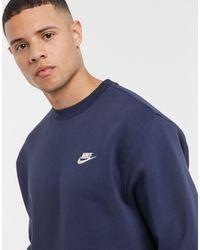 Nike Темно-синий Свитшот С Круглым Вырезом Club