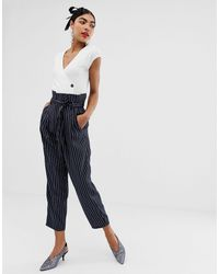UNIQUE21 Pinstripe Tailored Paperbag Waist Trousers - Blue