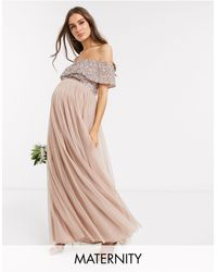 Maya Maternity Bridesmaid Bardot Maxi Tulle Dress With Tonal Delicate Sequins - Multicolour