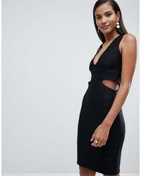 Miss Selfridge Plunge Cut Out Bodycon Midi Dress - Black