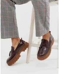 ASOS Loafers In Burgundy Faux Leather With Gum Sole - Red