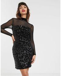 Warehouse Черное Бархатное Платье С Сетчатыми Рукавами -черный