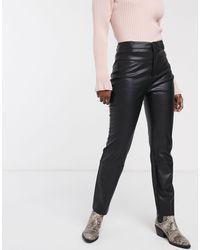 Pull&Bear Pantalon en similicuir - Noir