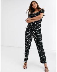 Vero Moda Aangerimpelde Bardot-jumpsuit - Zwart