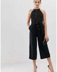 Oasis Jumpsuit With Glitter Dots - Black