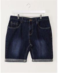 Brave Soul Pantaloncini slim lavaggio scuro - Blu