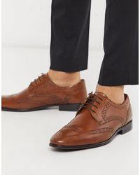 TOPMAN Tan Real Leather Bedd Brogu - Brown