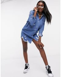 Missguided Vestito camicia - Blu
