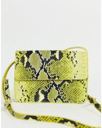 Pieces Neon Snake Print Cross Body Bag - Yellow
