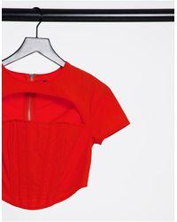 Missguided Top avec détail corset - Orange