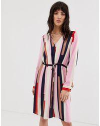 Vero Moda Полосатое Платье-рубашка С Поясом - Красный