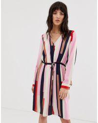 Vero Moda Stripe Shirt Dress With Tie Waist - Red