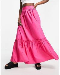 TOPSHOP Co-ord Linen Tiered Maxi Skirt - Pink