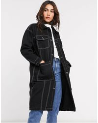 Monki Denim Worker Longline Coat - Black