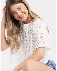 Miss Selfridge T-shirt avec broderie sur le devant - Blanc