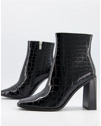 Glamorous - Черные Ботильоны На Блочном Каблуке С Эффектом Крокодиловой Кожи -черный Цвет - Lyst