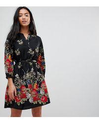 Yumi' Vestito con cintura e maniche a 3/4 con stampa a fiori sul bordo - Nero