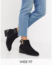 River Island Wide Fit Buckle Boot - Black