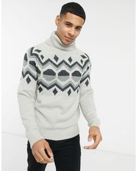Bellfield Geo Jacquard Roll Neck Jumper - Grey
