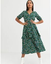 Missguided Tiered Midi Dress - Green