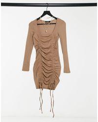 Naanaa Светло-бежевое Облегающее Платье С Сеткой И Сборками -серый