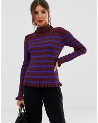 Y.A.S Rollneck Stripe Sweater With Frill Hems - Purple