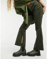 Glamorous Pantalon évasé en velours côtelé - Marron - Vert