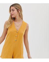 Rhythm Camille Cotton Button Front Beach Romper In Marigold - Yellow