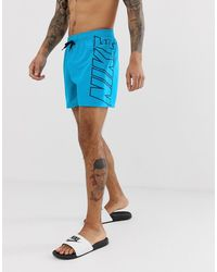 Nike Синие Короткие Шорты Для Плавания С Принтом Nike Ness9511-430 - Синий
